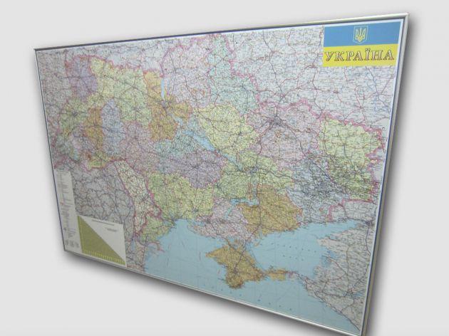 Карта Украины в алюминиевой рамке, 2013