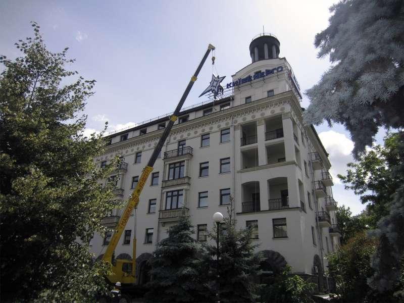 Монтаж накрышной установки с автокрана (№1777)