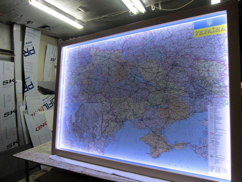 Карта Украины настенная с подсветкой (№262)