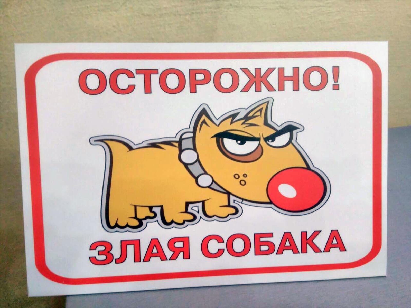 "Табличка ""Злая собака"" (№107)"