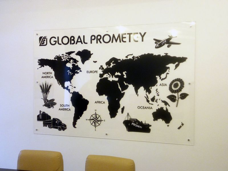 Акриловая карта мира в офисе (№1384)