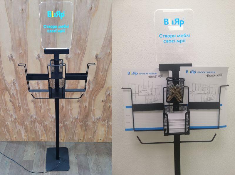 Металлическая стойка с акрилайтом для раздачи печатной продукции